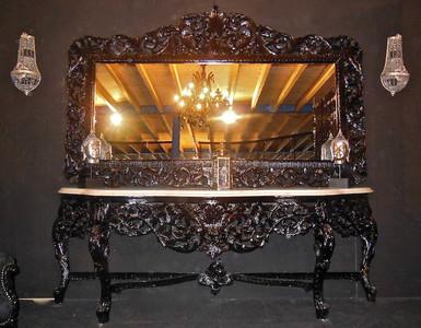 riesige casa padrino barock spiegelkonsole schwarz mit weisser marmorplatte luxus wohnzimmer mobel konsole mit spiegel