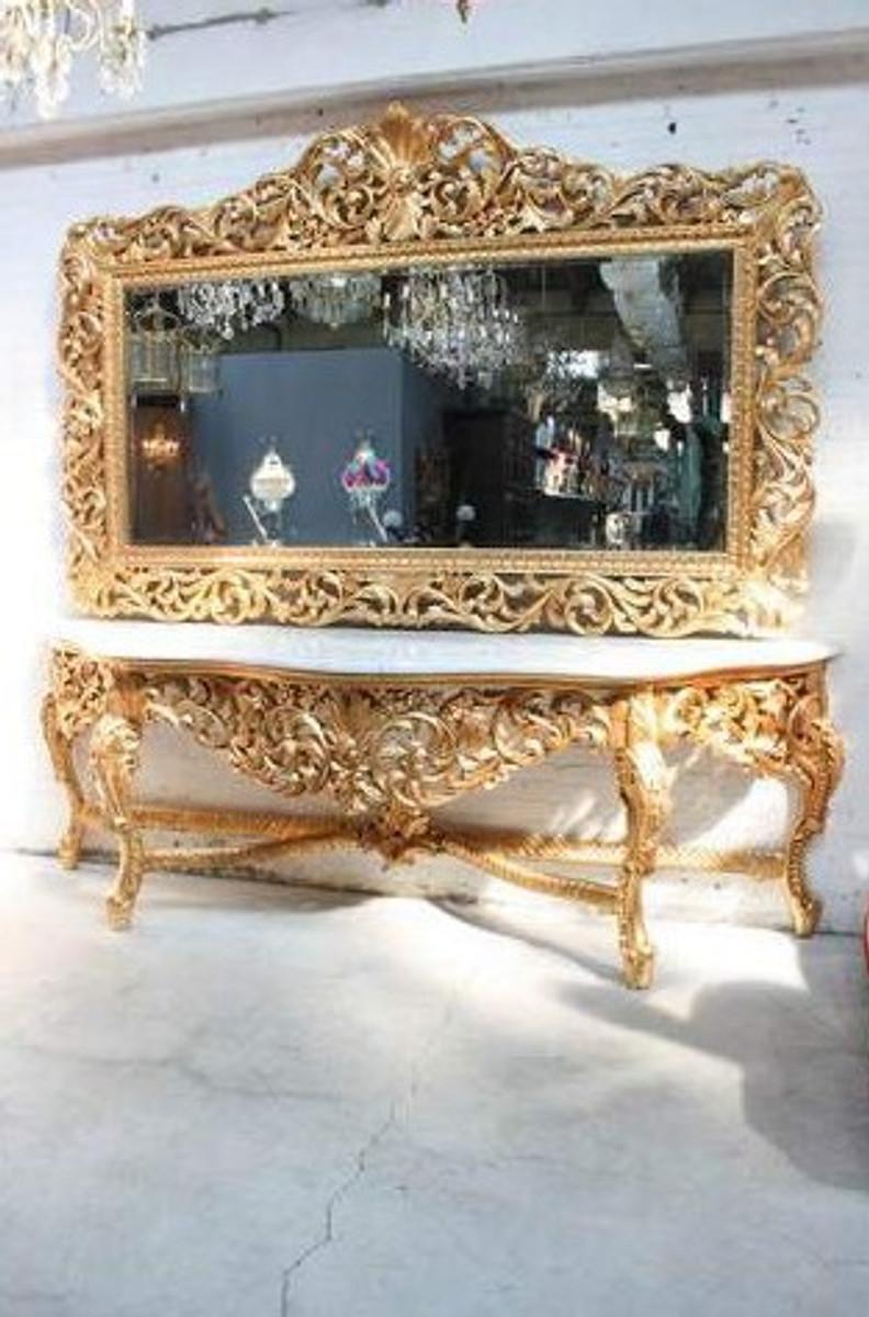 riesige casa padrino barock spiegelkonsole gold mit weisser marmorplatte luxus wohnzimmer mobel konsole mit spiegel spiegel barock spiegel barock