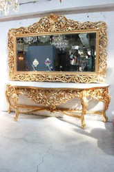 Huge Casa Padrino baroque mirror console Gold with white marble top - luxury living room furniture console Huge Casa Padrino baroque mirror console Gold with black marble top - luxury living room furniture console Sppiegel