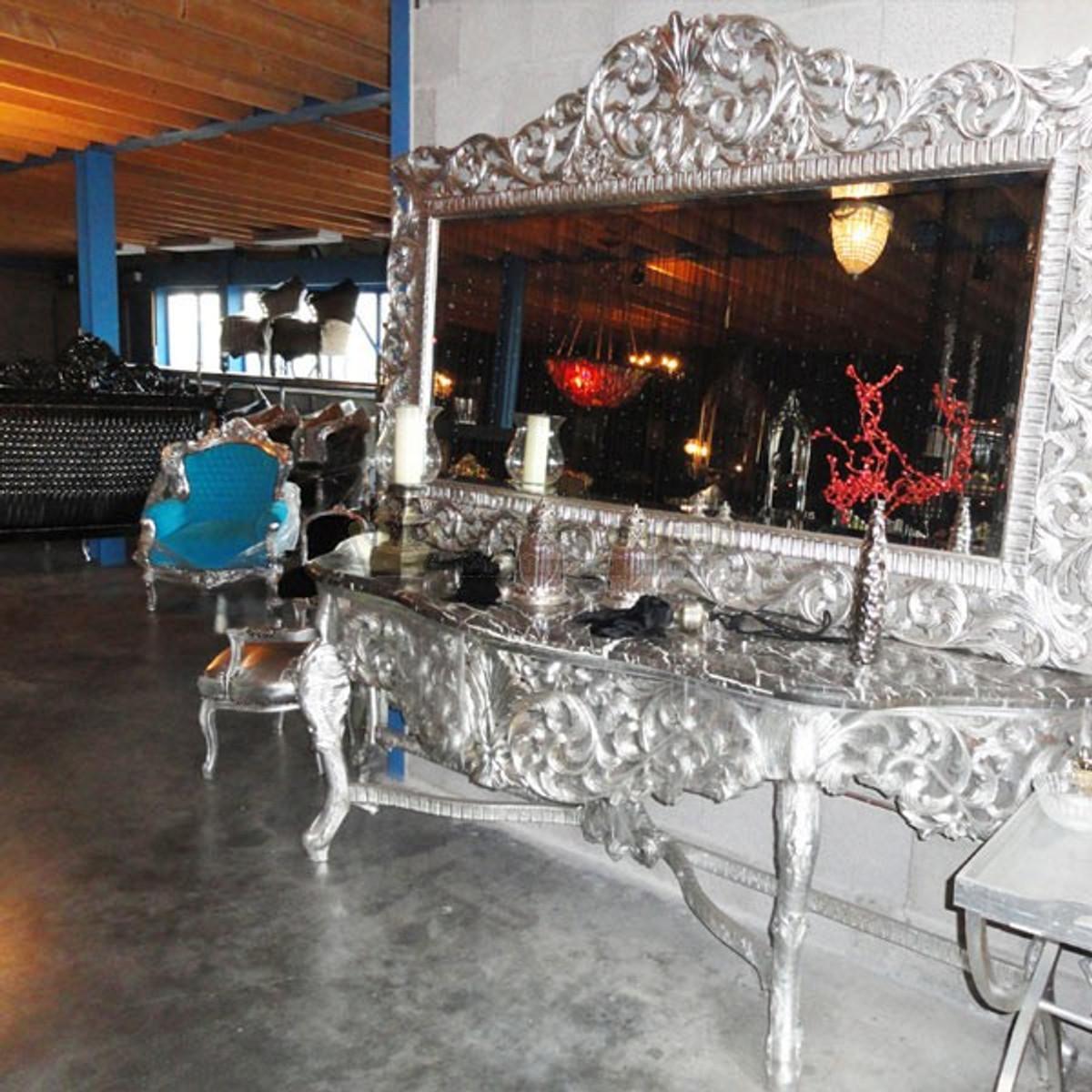 riesige casa padrino barock spiegelkonsole silber mit schwarzer marmorplatte luxus wohnzimmer. Black Bedroom Furniture Sets. Home Design Ideas