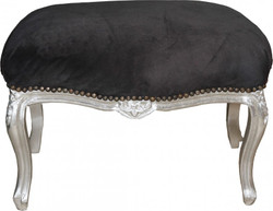 Casa Padrino Baroque Stool Black Silver - Baroque Furniture