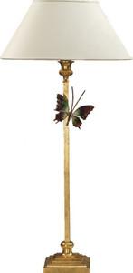 Casa Padrino Luxus Tischleuchte Gold mit Schmetterling - vergoldete Säulen Lampe - Handgefertigt in Italien