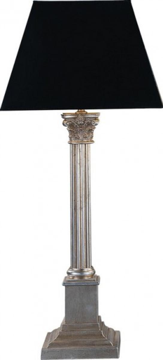 Casa padrino luxus barock tischleuchte schwarz silber for Italienische tischleuchten