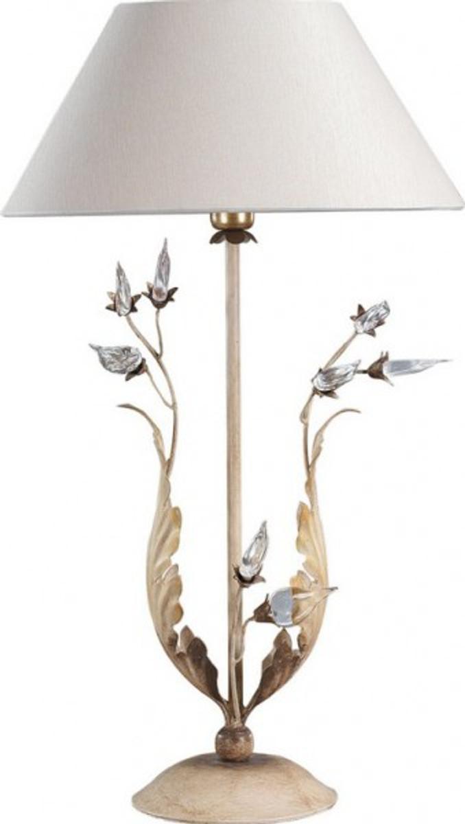 casa padrino luxus barock tischleuchte gold mit glaskristallen blattgold tisch lampe. Black Bedroom Furniture Sets. Home Design Ideas