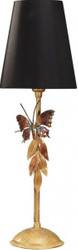 Casa Padrino luxury table lamp black / gold with butterfly - Gold-plated table lamp - Handmade in Italy