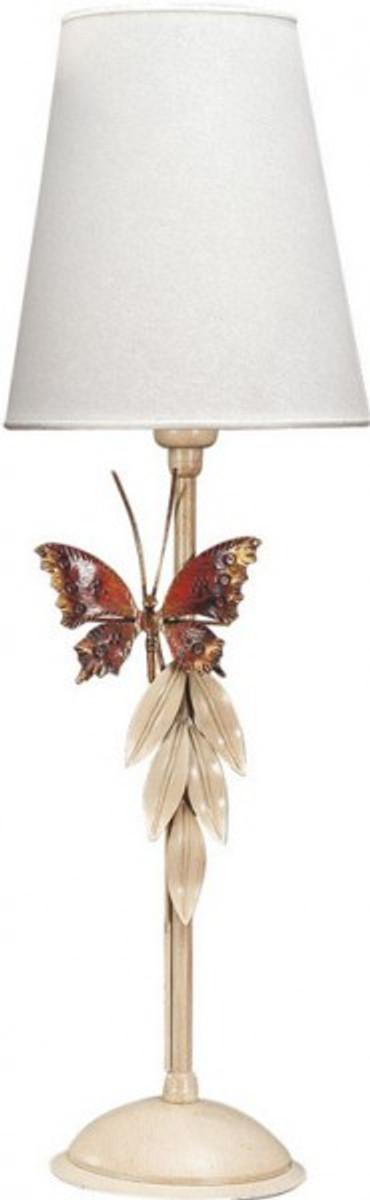 Casa Padrino Luxus Tischleuchte Antik Weiss mit Schmetterling - Italienische Tisch Lampe - Handgefertigt in Italien 1