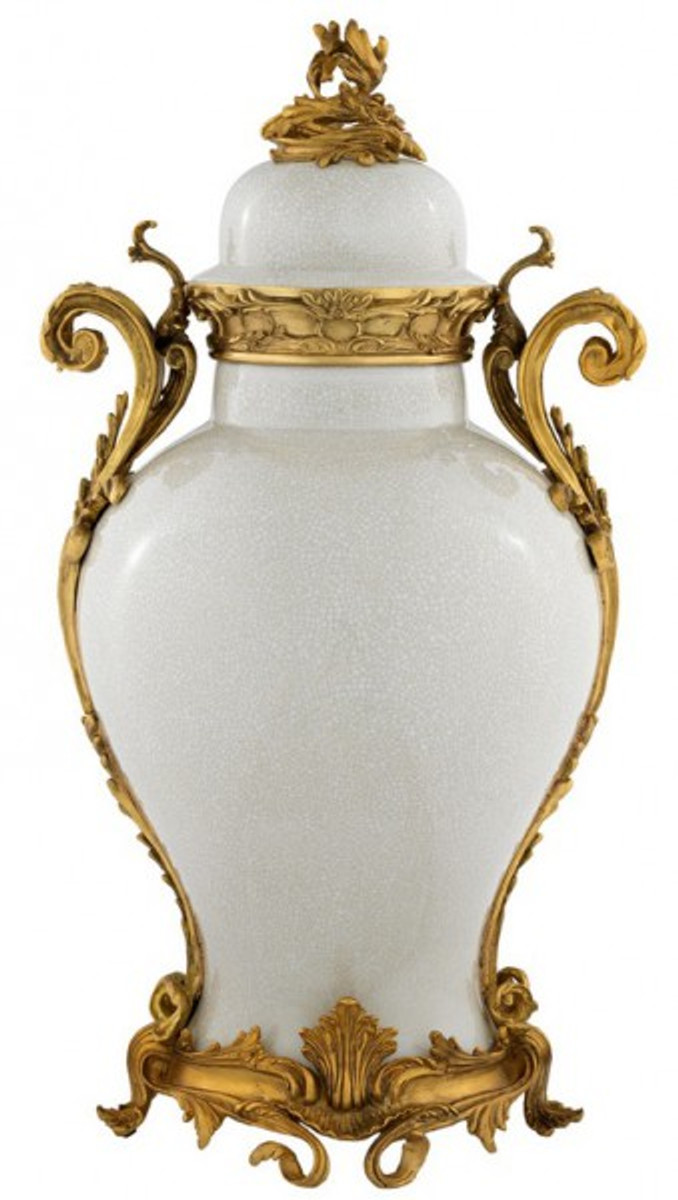 Casa padrino luxury baroque ceramic vase white gold for Grand vase decoration salon