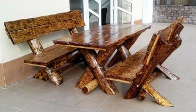 Casa Padrino Gartenmöbel Set Rustikal Tisch + 2 Garten Bänke - Eiche Massivholz - Echtholz Möbel Massiv – Bild