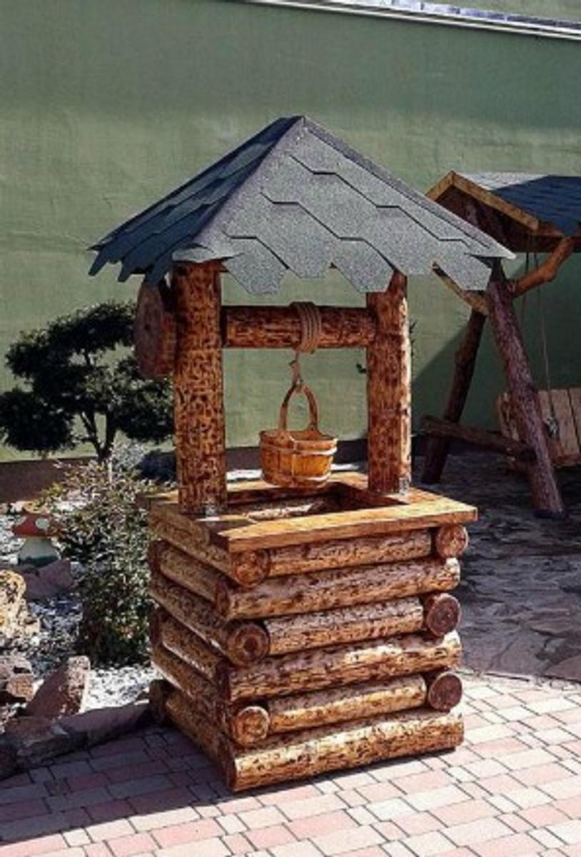 Casa Padrino Garten Brunnen Rustikal Mit Schöpfeimer Mod G2   Eiche  Massivholz   Gartenbrunnen Echtholz Massiv