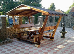Casa Padrino Rustic gazebo with table and 2 garden benches - solid oak - Covered garden furniture set real wood solid