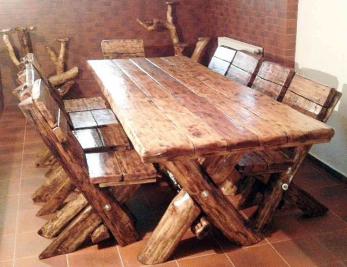 casa padrino dining set rustic table 6 chairs solid oak solid wood furniture solid. Black Bedroom Furniture Sets. Home Design Ideas