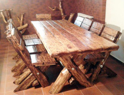 Casa Padrino Dining Set Rustic - table + 6 chairs - solid oak - solid wood furniture Solid Castle Furniture