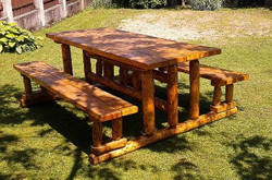 Casa Padrino garden furniture set Rustic table + 2 garden benches Mod GM2 - oak solid wood - real wood furniture Solid