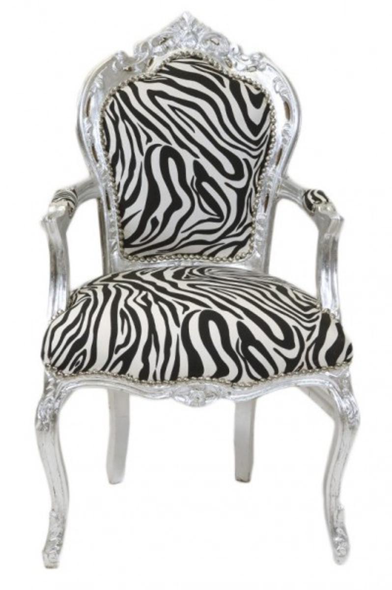 Casa Padrino Barock Esszimmer Stuhl Zebra Silber Mit Armlehnen