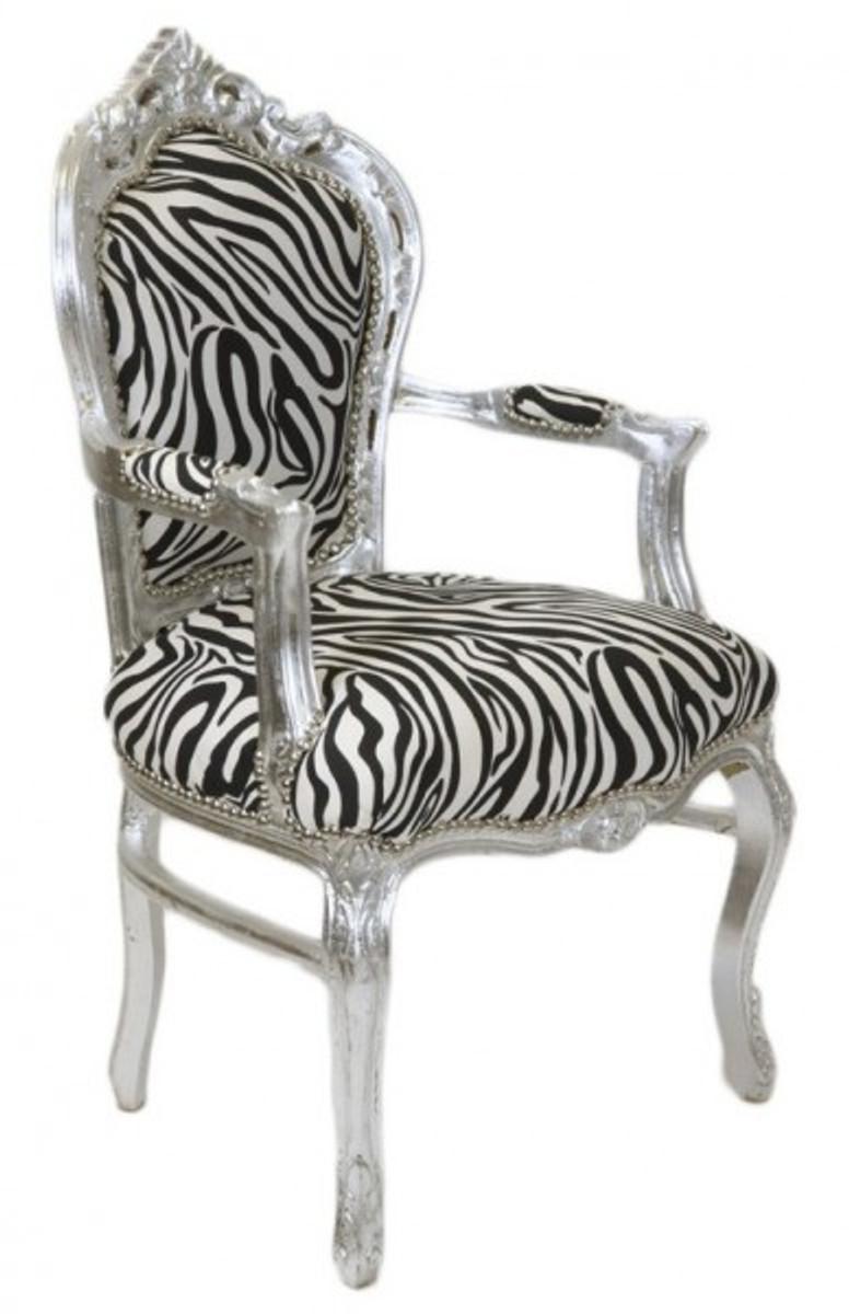 Casa Padrino Barock Esszimmer Stuhl Zebra Silber Mit Armlehnen Stuhle