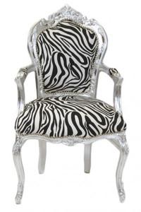 Casa Padrino Barock Esszimmer Stuhl Zebra / Silber mit Armlehnen – Bild 1