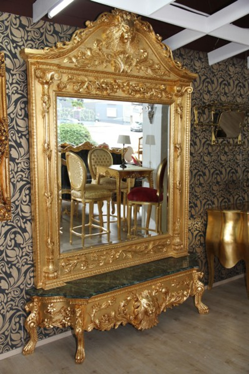 Casa Padrino Luxury Baroque Mirror Console Gold Lion Luxury Living Room Furniture Console With