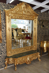 Casa Padrino luxury baroque mirror console Gold Lion - Luxury living room furniture console with mirror