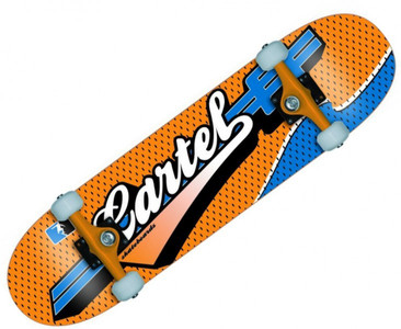 Cartel Skateboard Komplettboard Sports Blue / Orange 7.5 inch - Profi Complete Skateboard mit Koston Kugellagern