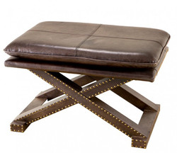 Casa Padrino luxury real leather stool Brown Olive with rivets - Leather Furniture