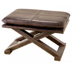 Casa Padrino Luxus Echt Leder Hocker Braun Olive mit Nieten - Leder Möbel