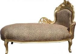 """Casa Padrino Barock Chaiselongue """"King"""" Leopard/Gold Mod2 - Recamiere Liege Leoparden Look"""
