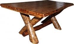Rustikaler Eichen Esstisch 200 x 115 cm - Massiv und Schwer von Casa Padrino - Gasthaus Tisch Speisetisch Ritter Tisch - Restaurant Möbel