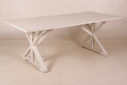 Casa Padrino Vintage Teak Esstisch Antik Stil Weiß 170 x 95 cm - Landhaus Stil Tisch Teakholz