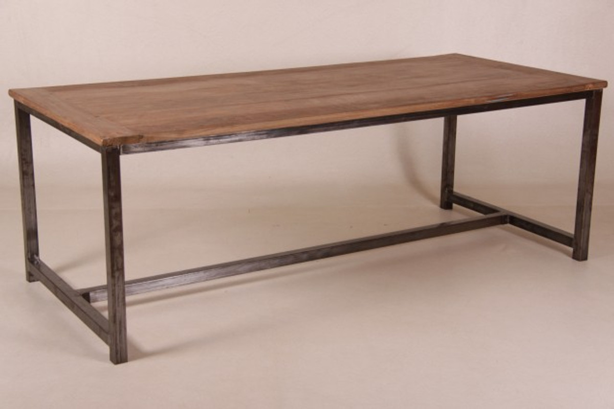 Casa Padrino Vintage Teak Dining Table Wood Color With Metal Frame Country Style Table Teak