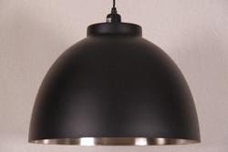 Casa Padrino Hängeleuchte Deckenleuchte Schwarz / Innen vernickelt 45cm Durchmesser - Industrie Lampe Hänge Leuchte