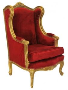 Casa Padrino Barock Lounge Thron Sessel Bordeaux Rot / Gold - Ohren Sessel - Ohrensessel Tron Stuhl – Bild 1
