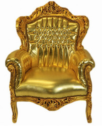 "Casa Padrino Baroque Armchair ""King"" Gold / Gold Leatherlook Bling Bling rhinestones"