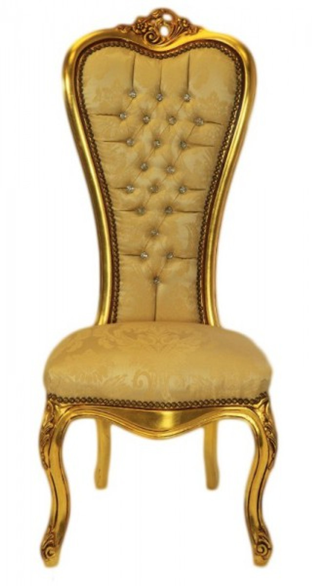 Casa Padrino Baroque Throne Chair Queen Anne Gold Pattern Gold With Bling Bling Rhinestones High Armchair
