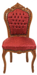 Casa Padrino Baroque Dinner Chair Bordeaux Pattern / Brown - Antique Furniture