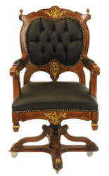 Casa Padrino Baroque office chair executive chair Mahogany / Brown - swivel chair Office chair