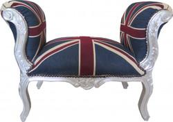Casa Padrino baroque stool stool Union Jack / Silver - Bench