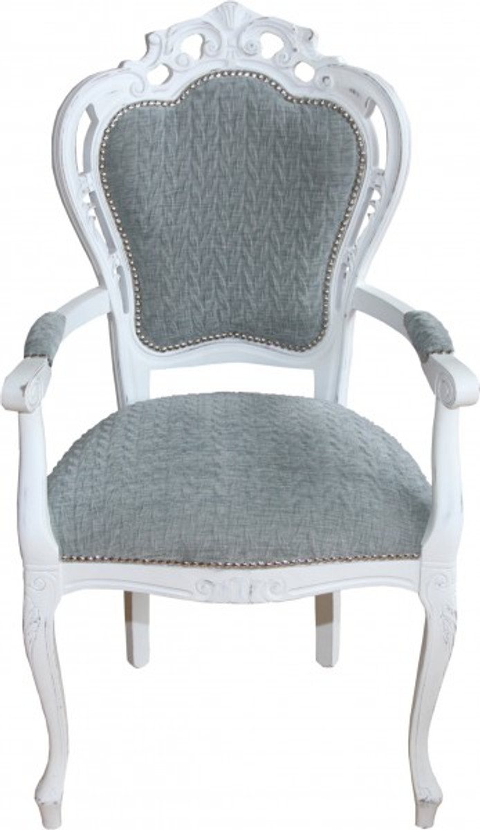 casa padrino baroque dinner chair with armrests gray blue. Black Bedroom Furniture Sets. Home Design Ideas