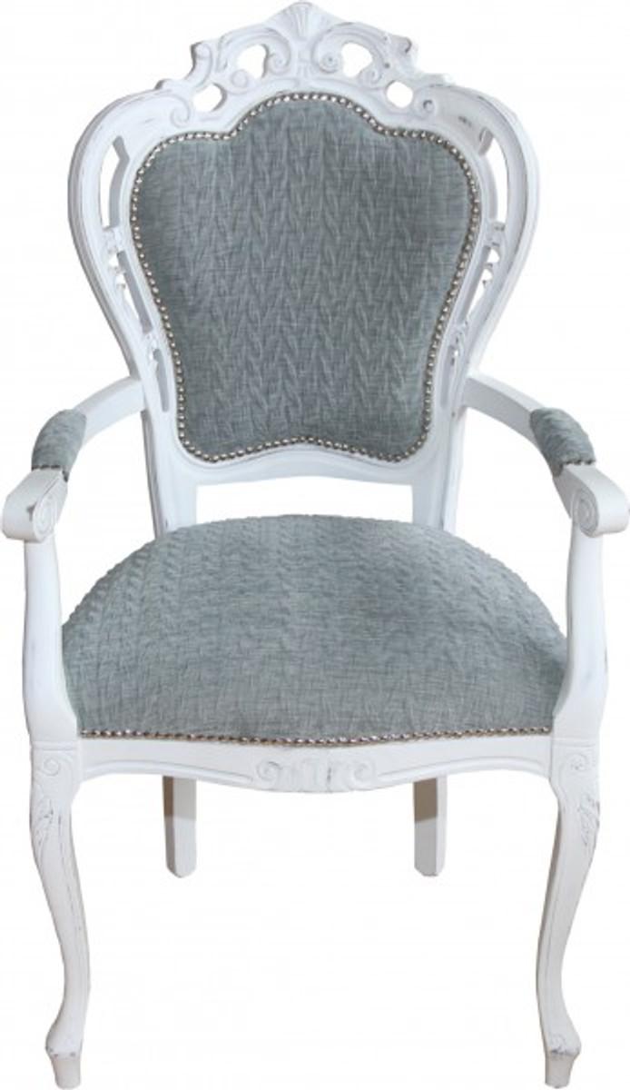 Casa Padrino Barock Esszimmer Stuhl Mit Armlehnen Grau-blau ... Designer Stuhl Esszimmer