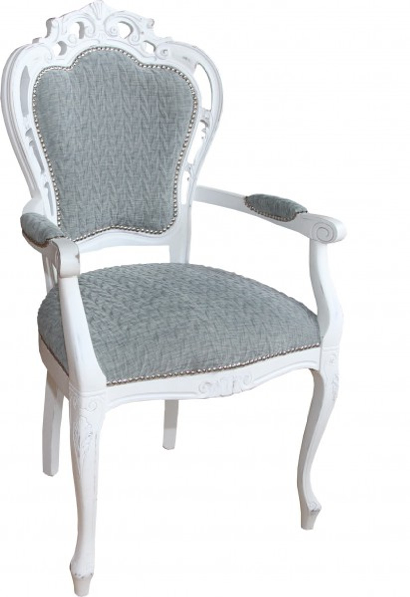 Casa Padrino Barock Esszimmer Stuhl Mit Armlehnen Grau Blau / Antik Weiss    Designer Stuhl