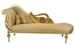 Casa Padrino Barock Luxus Chaiselongue Antik Weiss / Gold -  Golden Wings - Luxus Qualität