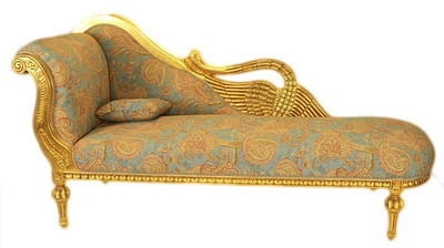 Casa Padrino Baroque luxury chaise Antique Gold Turquoise Red Pattern / Gold - Golden Wings - luxury quality – Bild 1