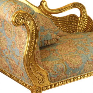 Casa Padrino Baroque luxury chaise Antique Gold Turquoise Red Pattern / Gold - Golden Wings - luxury quality – Bild 2