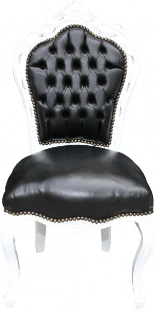 casa padrino barock esszimmer stuhl schwarz wei lederoptik m bel antik stil st hle barock. Black Bedroom Furniture Sets. Home Design Ideas