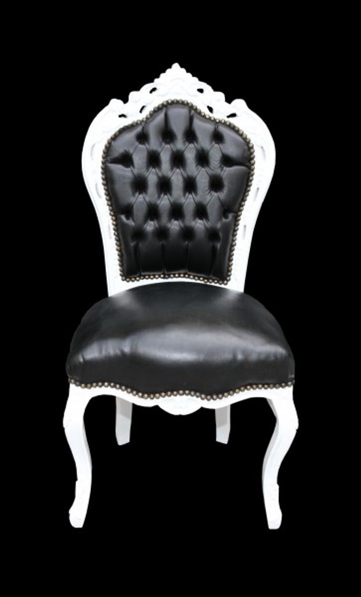 Casa Padrino Barock Esszimmer Stuhl Schwarz Weiß