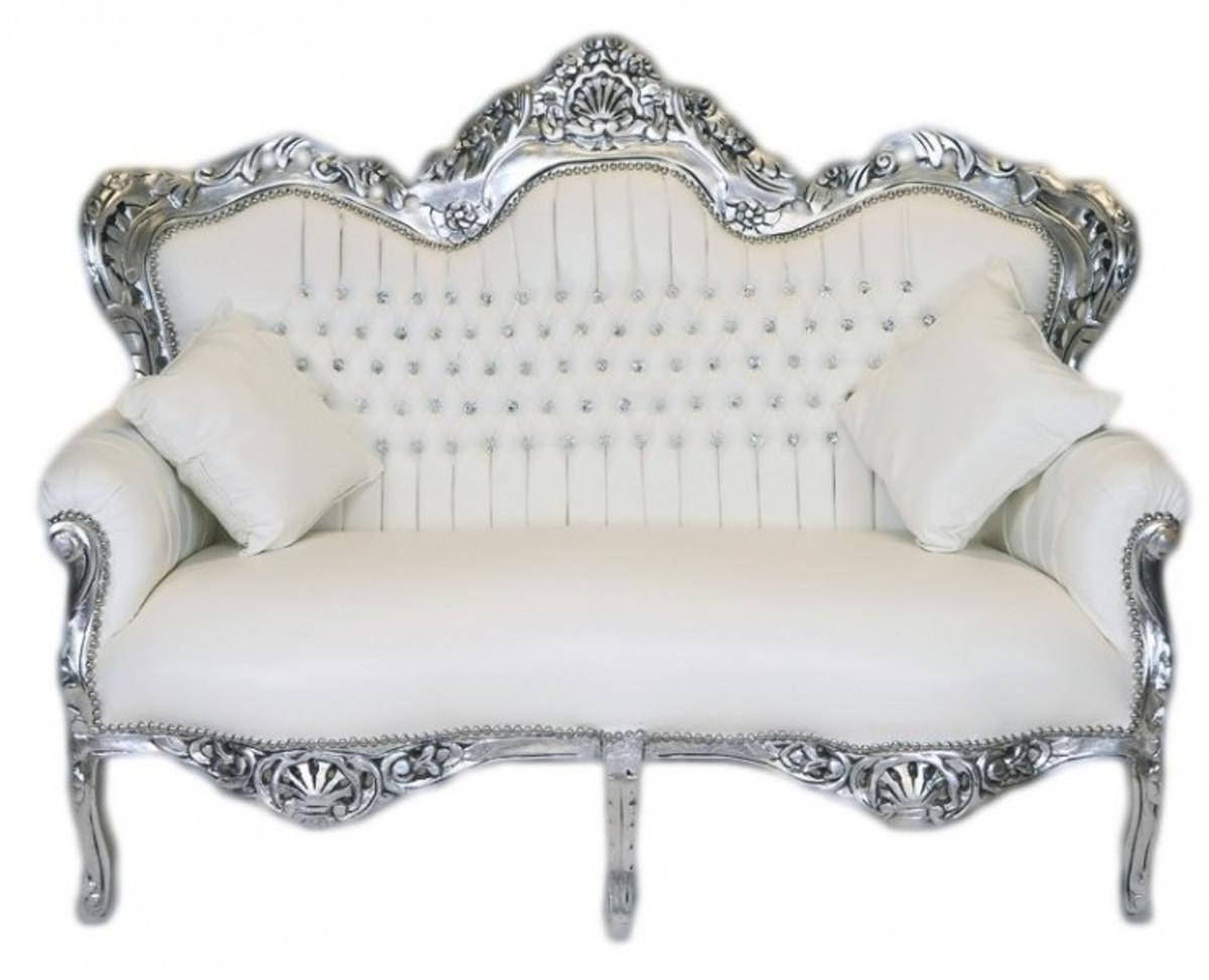 Casa Padrino Barock 2er Sofa Master Weiß Lederoptik Silber