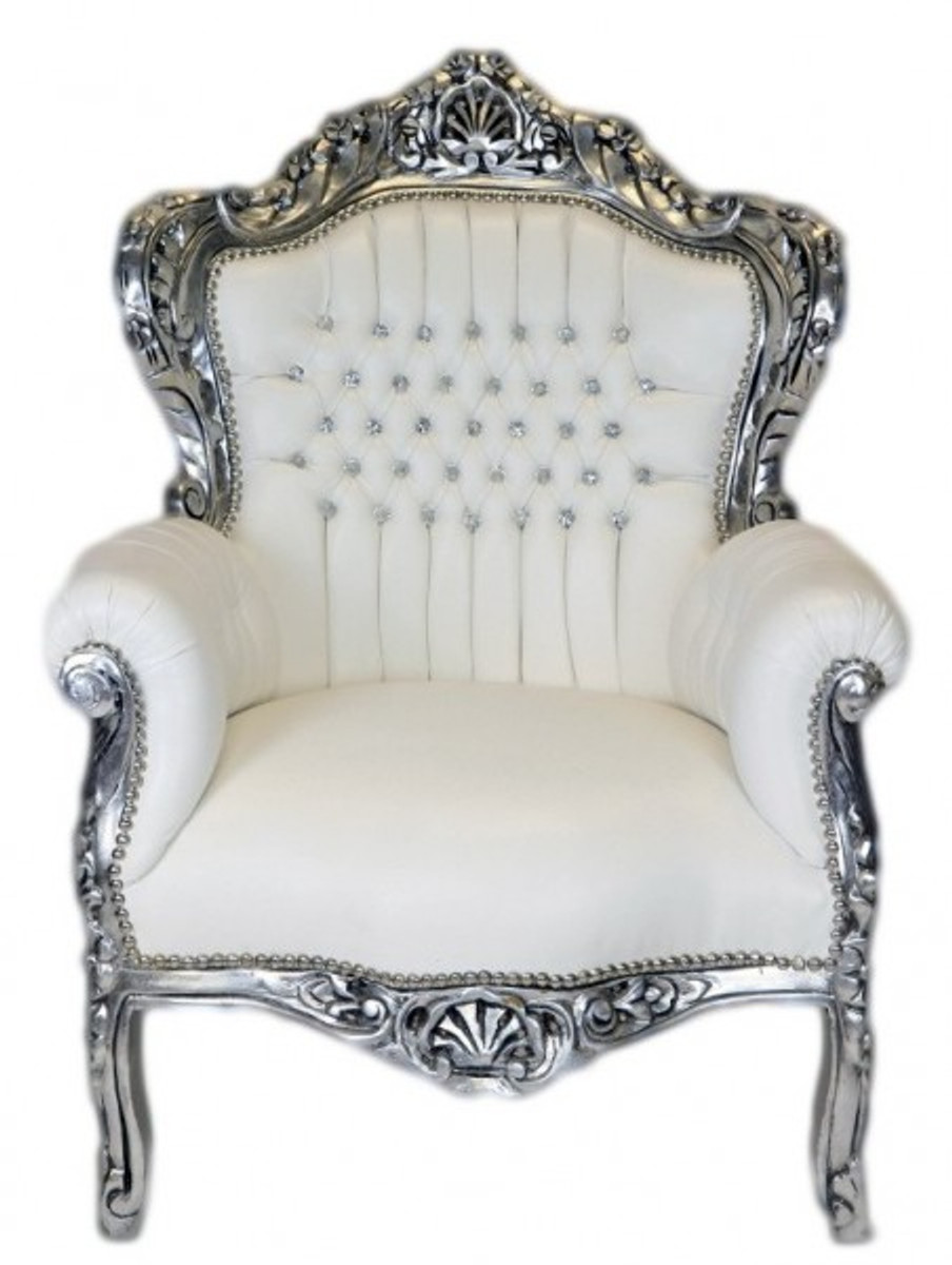 Amazing Casa Padrino Baroque Armchair King White Leather Look / Silver Bling Bling  Diamante   Lounge Furniture Casa Padrino Baroque Armchair King White  Leather Look ...