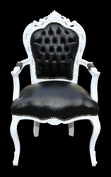 Casa Padrino Baroque Dinner Chair Black / Gold with armrest leather look