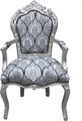Casa Padrino Baroque dining room with armrests Silver-Black Pattern / Silver - Antique style furniture