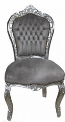 Casa Padrino Baroque Dinner Chair Grey/Silver - Antique style furniture