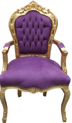 Casa Padrino baroque dining chair with armrests Purple / Gold